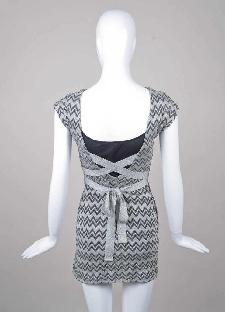 Silver and Black Metallic Zig Zag Tie Dress