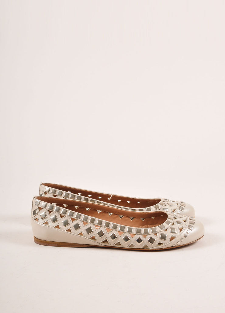Alaia New In Box Cream and Silver Toned Flat Studded Cut Out Leather Flats Sideview
