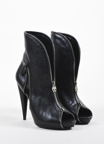 Alexander McQueen Black Leather Zipper Peep Toe Ankle Booties Frontviiew