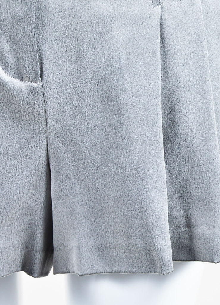 Grey Alexander Wang Silk Pleated Zipped Shorts Detail