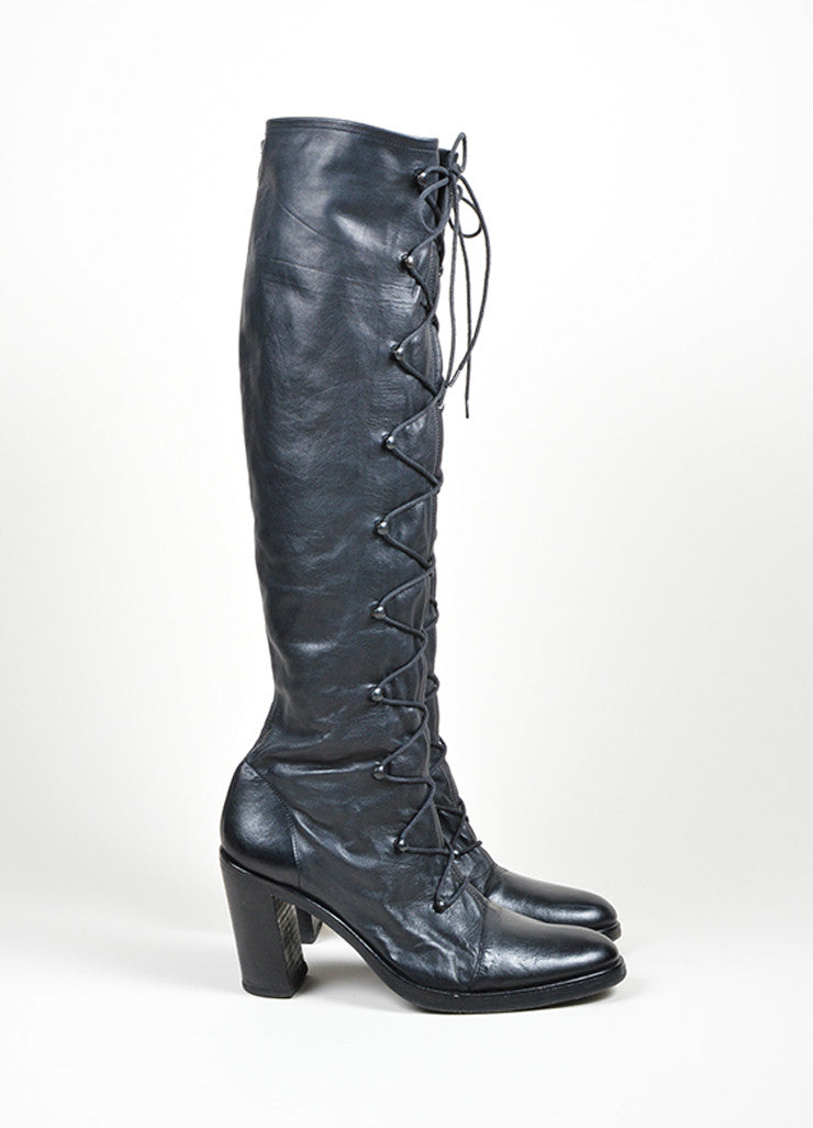 "Black Ann Demeulemeester Leather Knee High Lace Up ""Roccia Forte"" Boots Sideview"