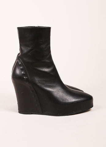 An Demeulemeester Black Leather Studded Hidden Wedge Ankle Boots Sideview