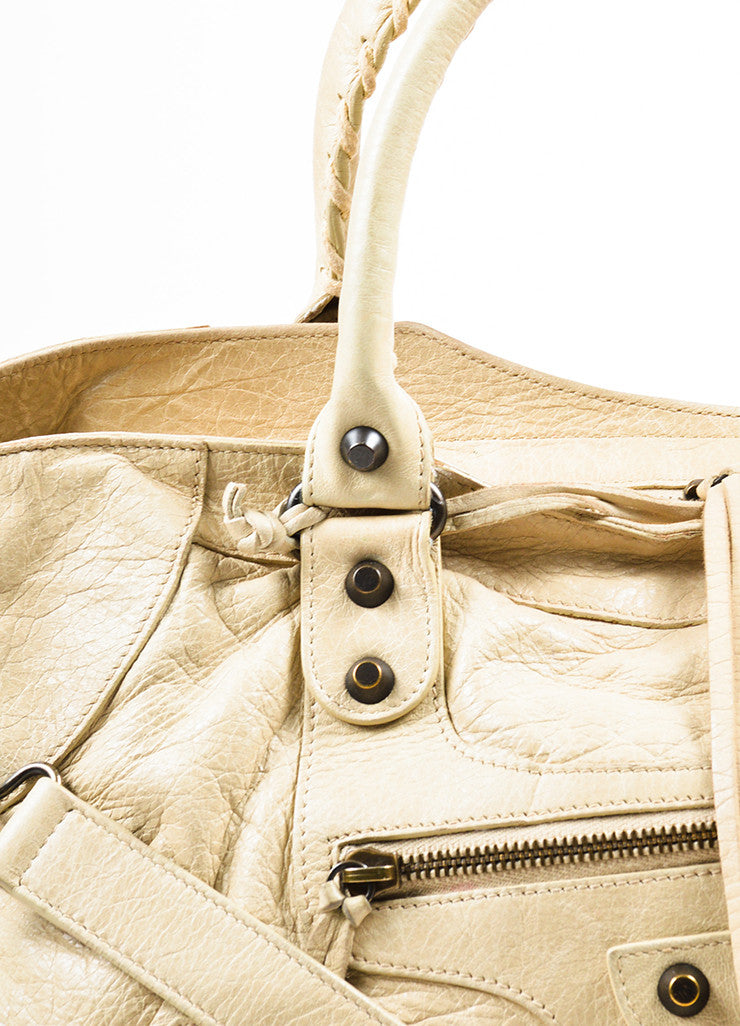 "Beige Balenciaga Leather ""Classic Part Time"" Bag With Shoulder Strap Detail 2"
