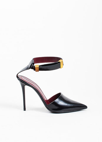 Black Celine Leather Gold Toned Buckle Pointed Toe Ankle Wrap Pumps Sideview