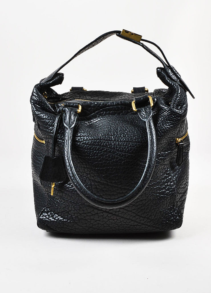 Celine Black Pebbled Leather Tote Bag Frontview
