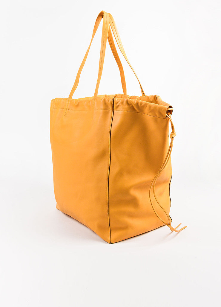 "Celine ""Daffodil"" Yellow Leather ""Large Coulisse"" Drawstring Tote Bag Back"