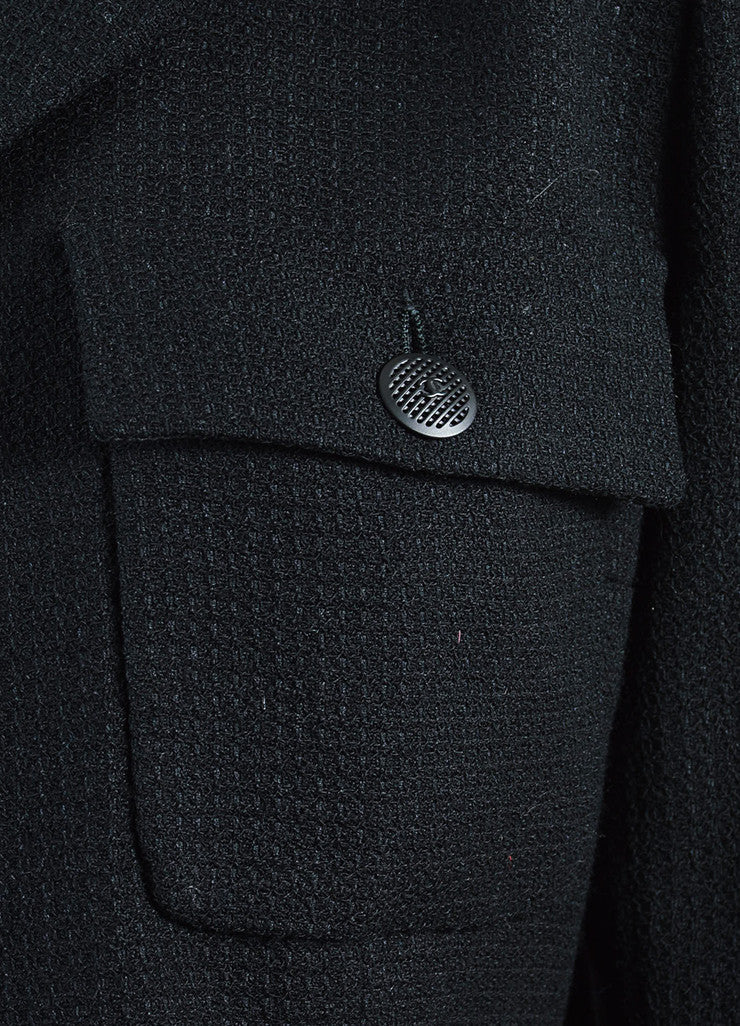 Chanel Black Wool Waffle Weave Utilitarian Button Pocket Jacket Detail