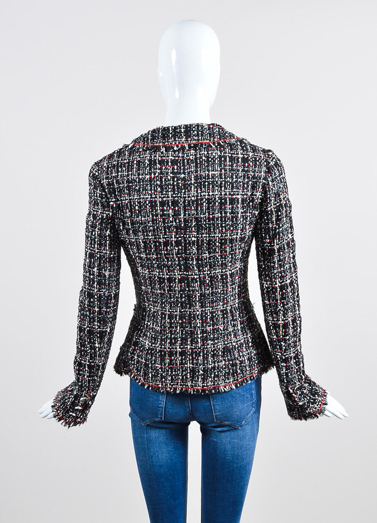 Black, Red, and White Chanel Tweed Fitted Jacket