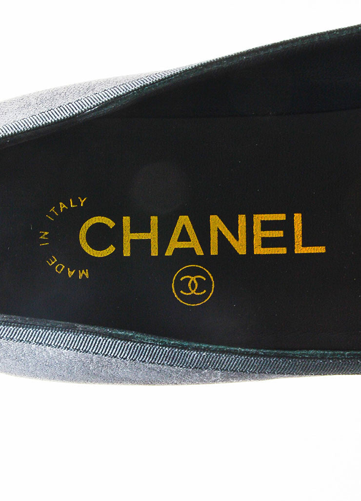 Black Chanel Leather White 'CC' Camellia Flower Loafers Brand