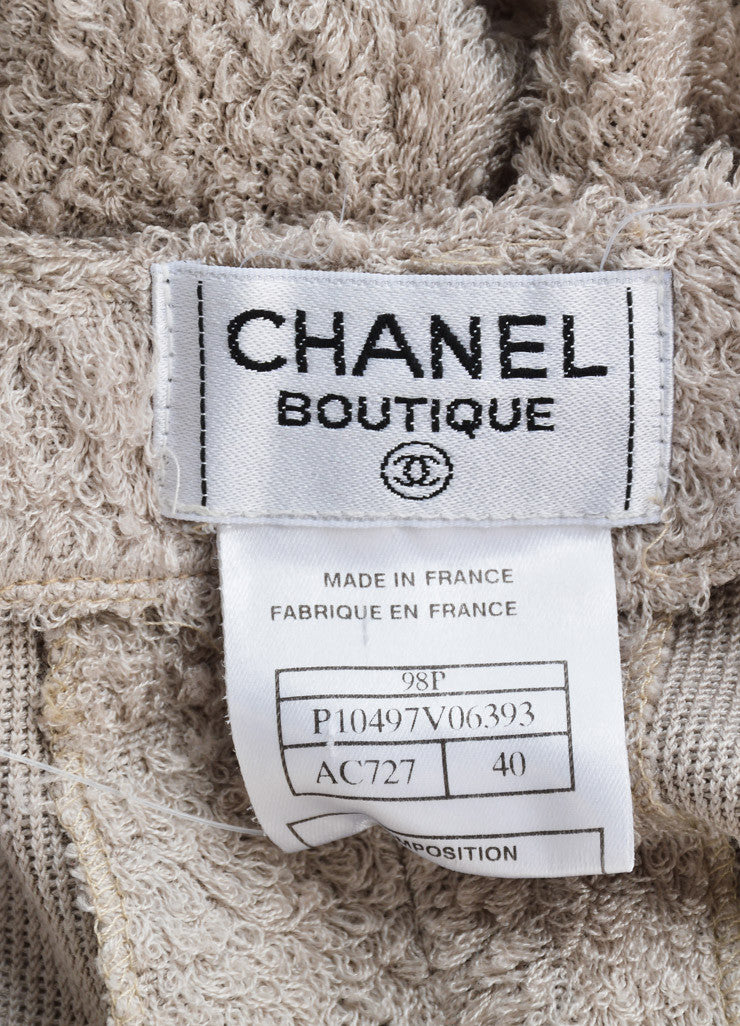 Chanel Taupe Grey Silk Looped Woven Wide Leg High Waisted Pants Brand