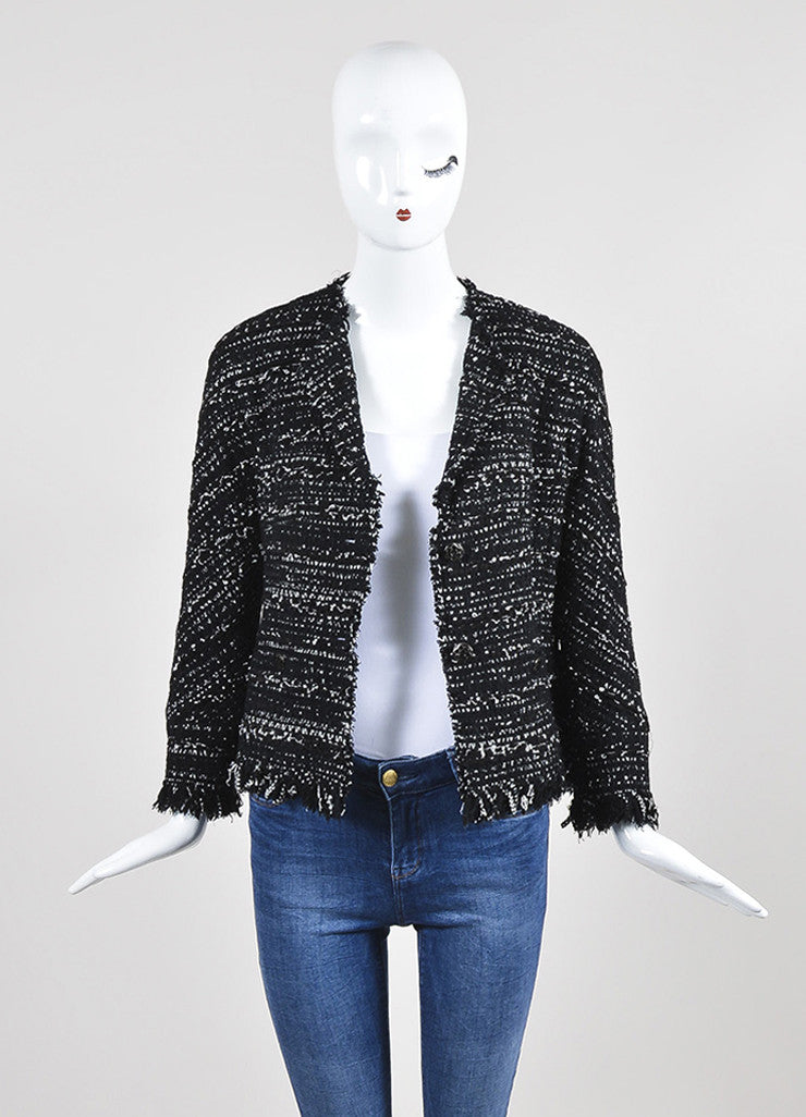 Black and White Chanel Tweed Two Button Jacket Frontview