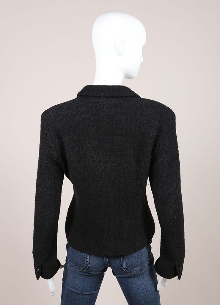 Chanel Black Wool and Angora Knit Jacket Backview