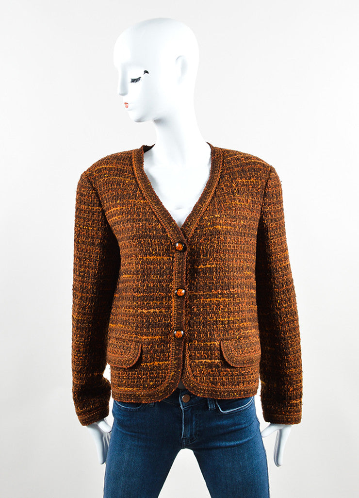 Chanel Brown and Orange Wool Tweed Boxy Cropped Blazer Frontview 2