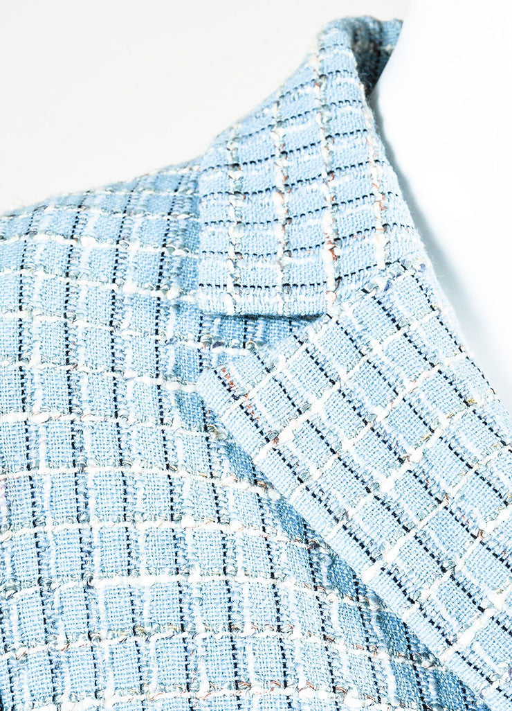 Chanel Light Blue Wool Blend Boucle Tweed Blazer Jacket Detail
