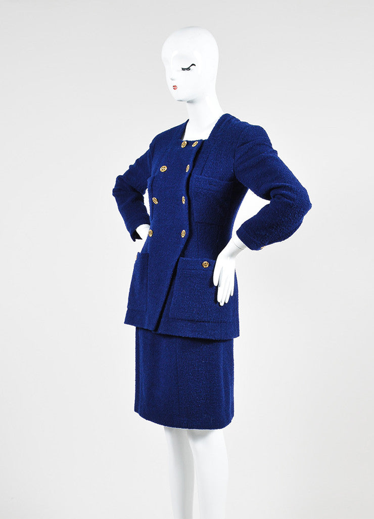 Blue Chanel Tweed Double Breast Jacket and Skirt Suit Sideview