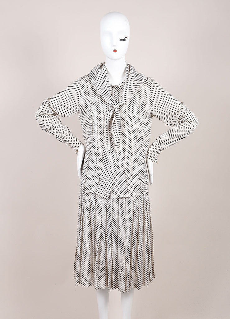 Chanel Cream and Black Silk Jacquard Polka Dot Print Blouse Top, Skirt and Scarf Set Frontview 2