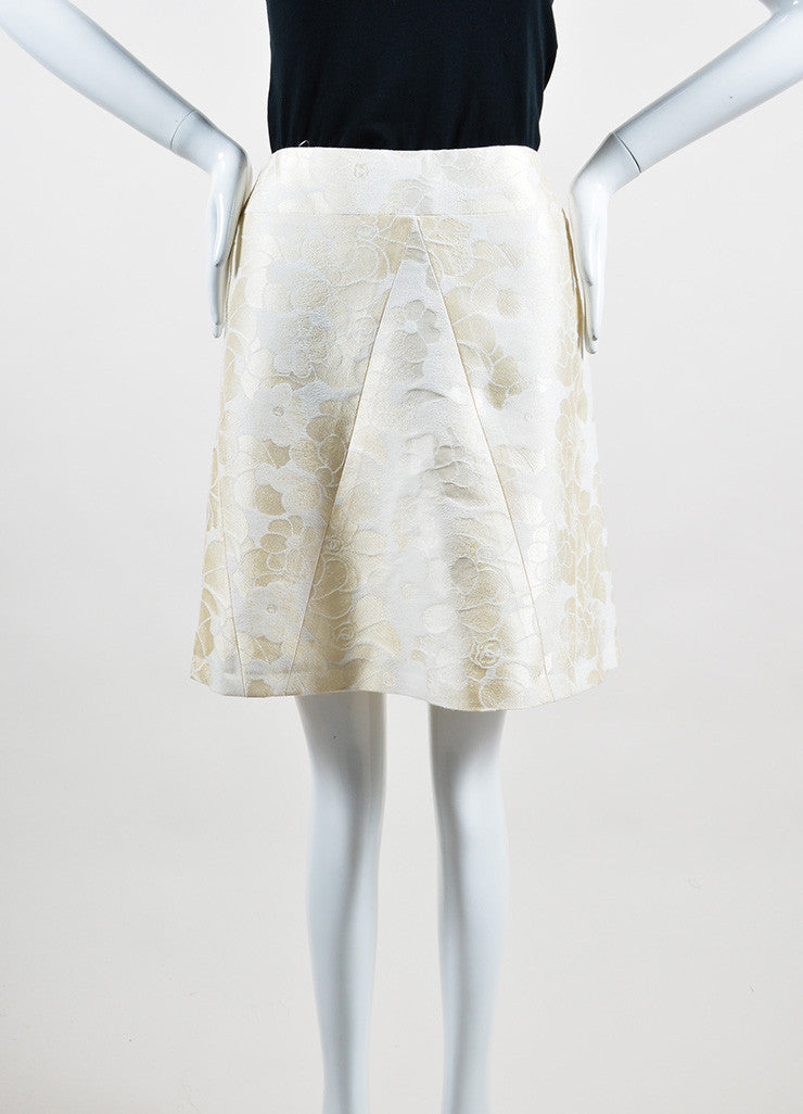 Cream Chanel Floral Brocade Skirt Frontview