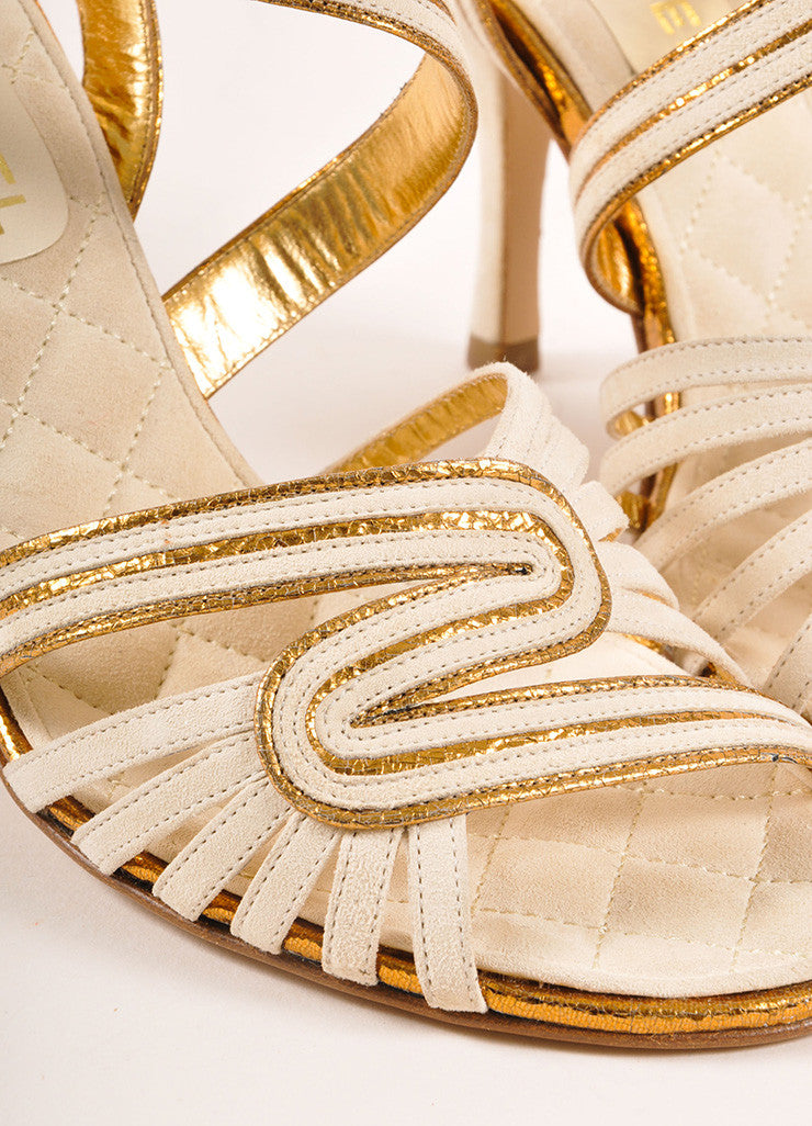 Chanel New In Box White and Bronze Suede Metallic Leather Strappy Sandal Heels Detail