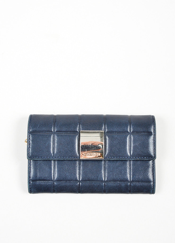 Navy and Silver Toned Chanel Lambskin Leather Fold Over Quilted Wallet Frontview
