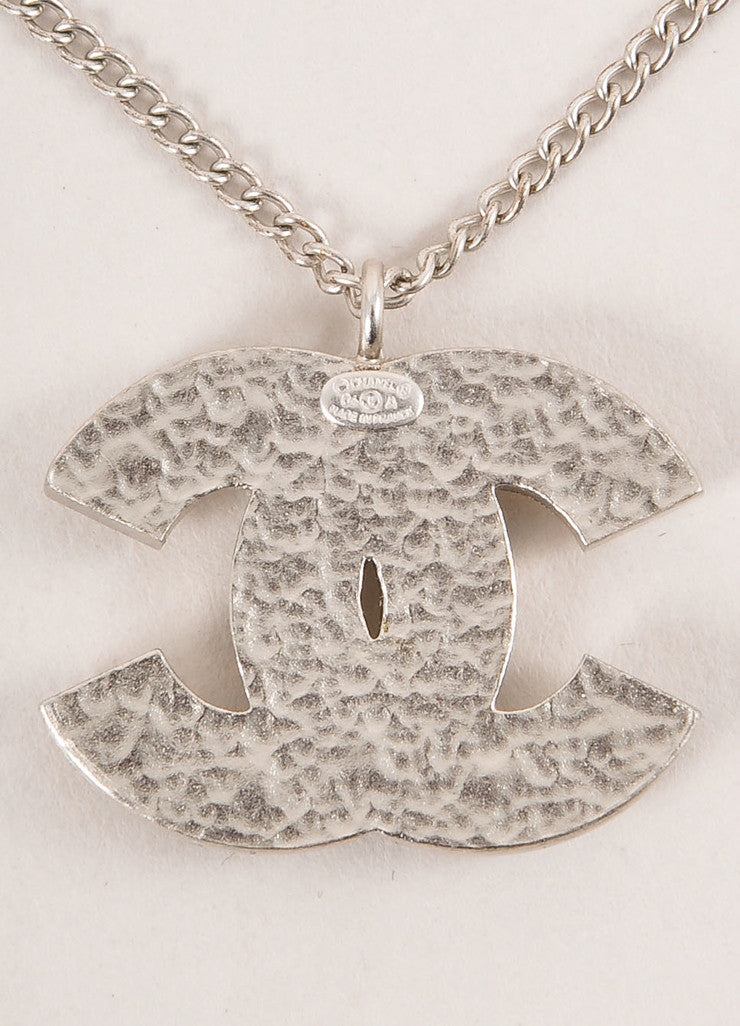 "Chanel Silver Toned Heart Rhinestone Embellished ""CC"" Logo Necklace Detail 2"