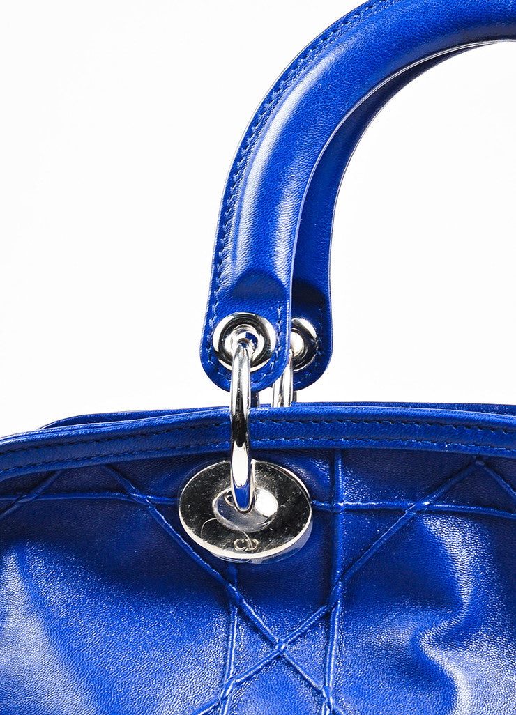 "Christian Dior Navy Blue Leather Embroidered ""Granville Cannage"" Satchel Bag Detail 2"