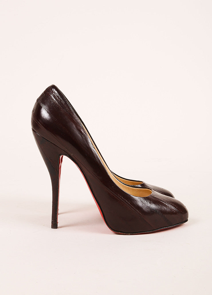 Christian Louboutin Black Eel Leather Decollete 868 Pumps Sideview