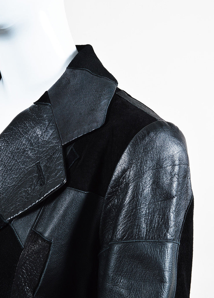 Comme de Garcons Black Leather Suede Patchwork Coat Detail