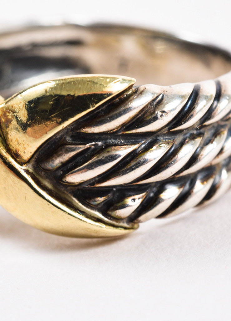 "David Yurman 14K Yellow Gold and Sterling Silver ""Triple Row X Collection"" Ring Detail"