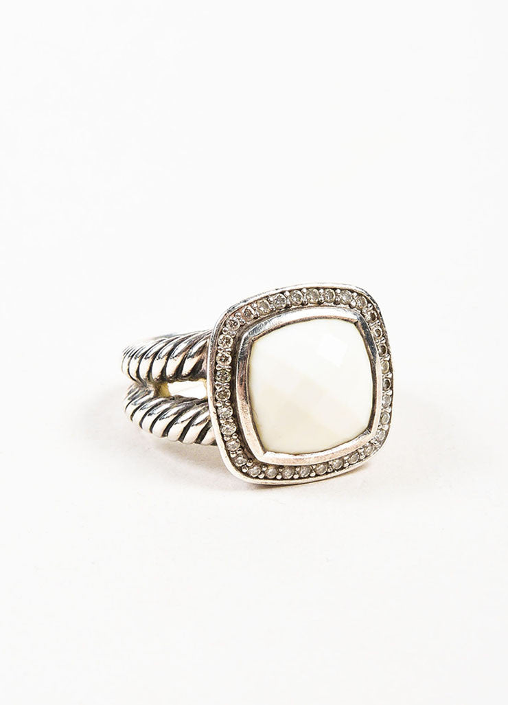 "David Yurman Sterling Silver, White Agate, and Pave Diamond ""Albion"" Ring Sideview"