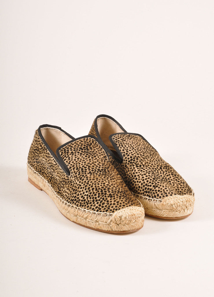 Elyse Walker New In Box Tan and Black Leopard Print Pony Hair Espadrille Flats Frontview