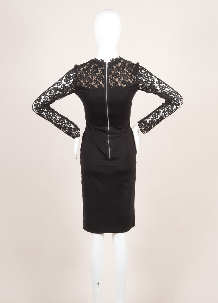 "Erdem New With Tags Black and Nude Eyelet Lace Velvet Trim ""Cherise"" Dress Backview"