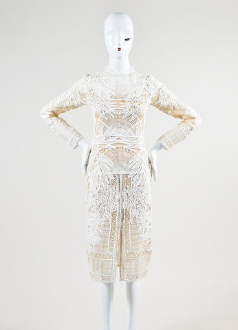 "Erdem White and Nude Sheer Lace Long Sleeve ""Henrike"" Dress Frontview"