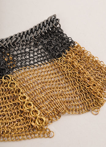Falconiere New With Tags Gold Toned and Gunmetal Grey Metal Chain Mesh Draped Bracelet Detail