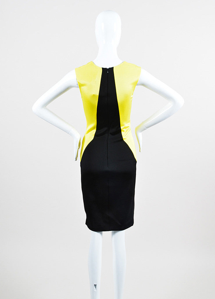 Black and Yellow Fausto Puglisi Colorblock Sleeveless Sheath Dress Back
