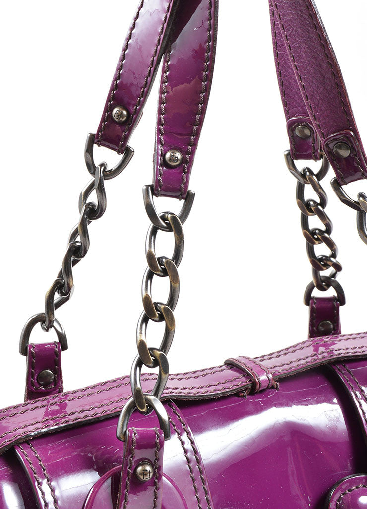 "Fendi Purple Patent Leather ""B"" Double Buckle Flap Bag Detail 2"