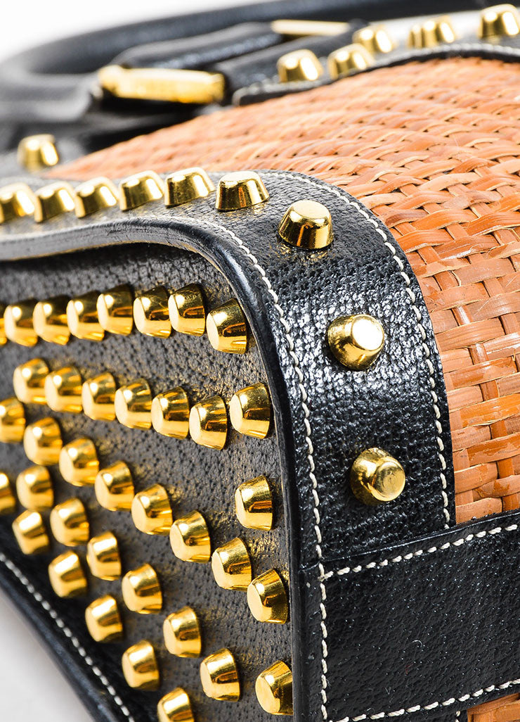 Tan and Gold Fendi Leather and Raffia Studded Top Handle Tote Bag Detail