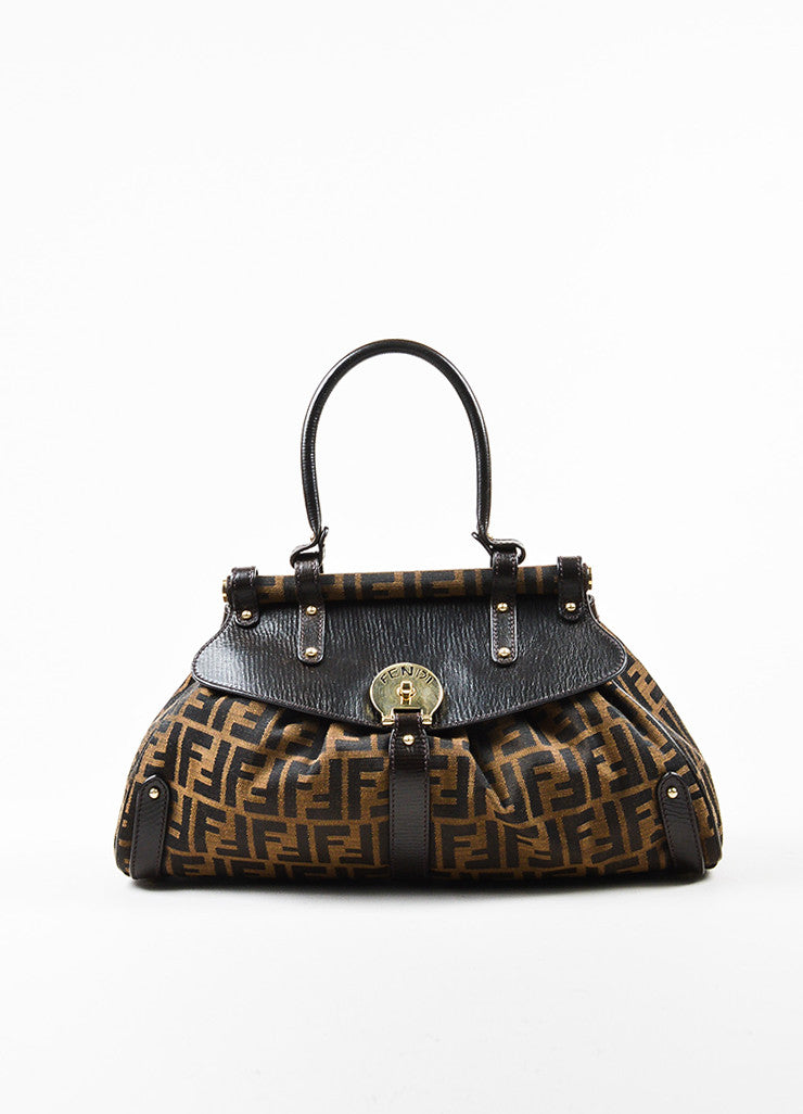 "Fendi ""Tobacco"" Brown Canvas Leather 'FF' Monogram ""Zucca Magic"" Satchel Bag frontview"
