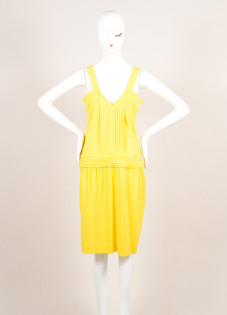 Fendi Yellow Jersey Pleated Sleeveless Dress Frontview