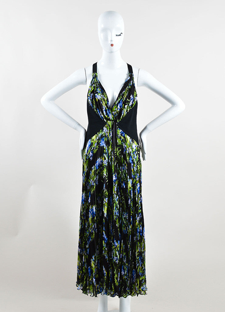 Givenchy Black, Green, and Blue Tropical Floral Print Pleated Sleeveless Maxi Dress Frontview
