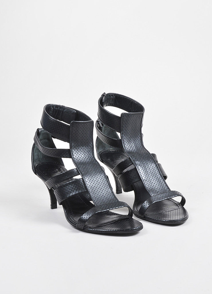 Black Givenchy Perforated Leather Strappy Heeled Sandal Front