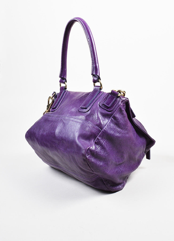 "Purple Leather Gold Toned Zip Givenchy ""Medium Pandora"" Messenger Bag Sideview"