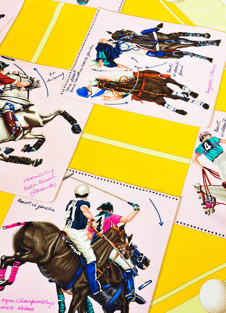 "Hermes Pink, Yellow, and Green Silk Polo Tournament ""Cup Palm Beach"" Print 90cm Scarf Detail"