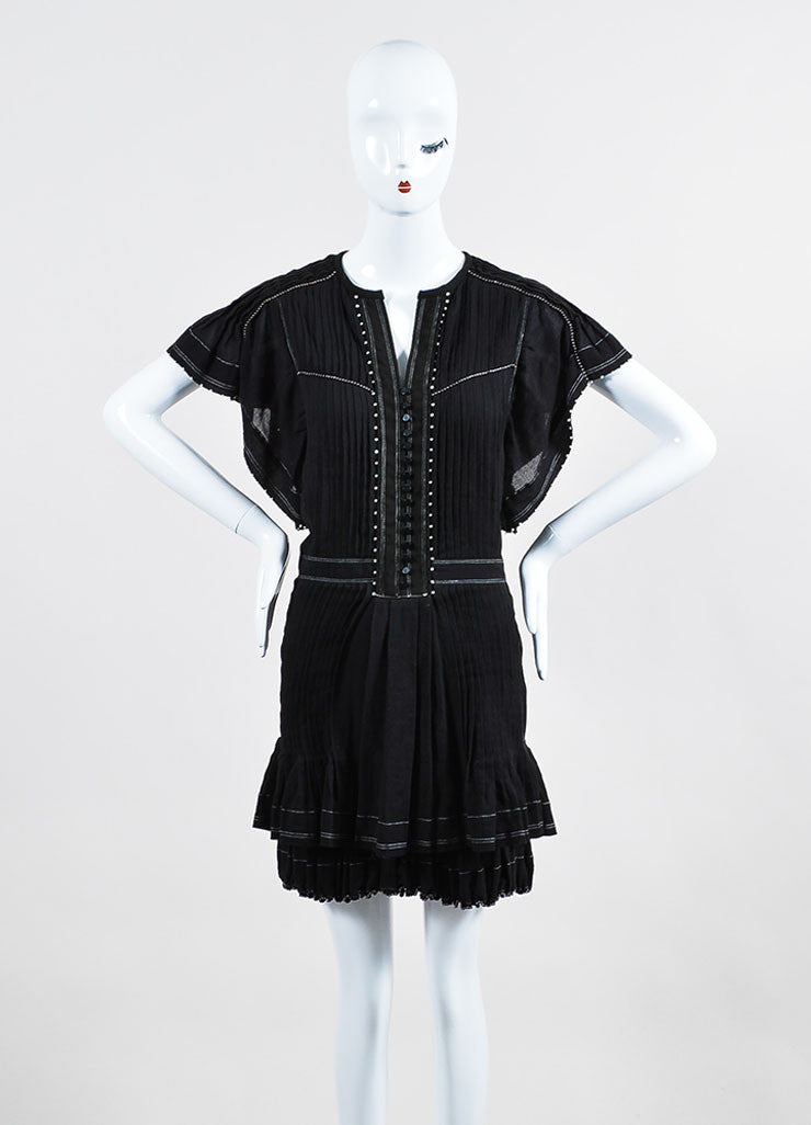 "Black Isabel Marant Beaded Pleated Short Sleeve ""Ral"" Dress Frontview"
