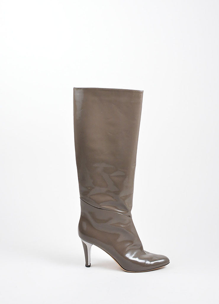 Grey Jimmy Choo Patent Leather Knee High Metallic Heel Boots Sideview