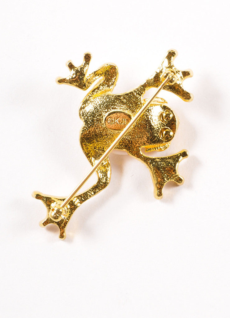 Kenneth Jay Lane Gold and Silver Toned Faux Pearl Rhinestone Frog Brooch Backview