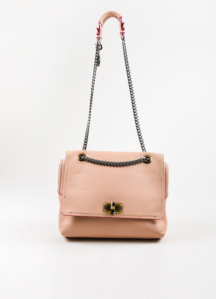 "Blush Pink Lanvin Grained Leather Chain Strap ""Happy Medium"" Bag Front"
