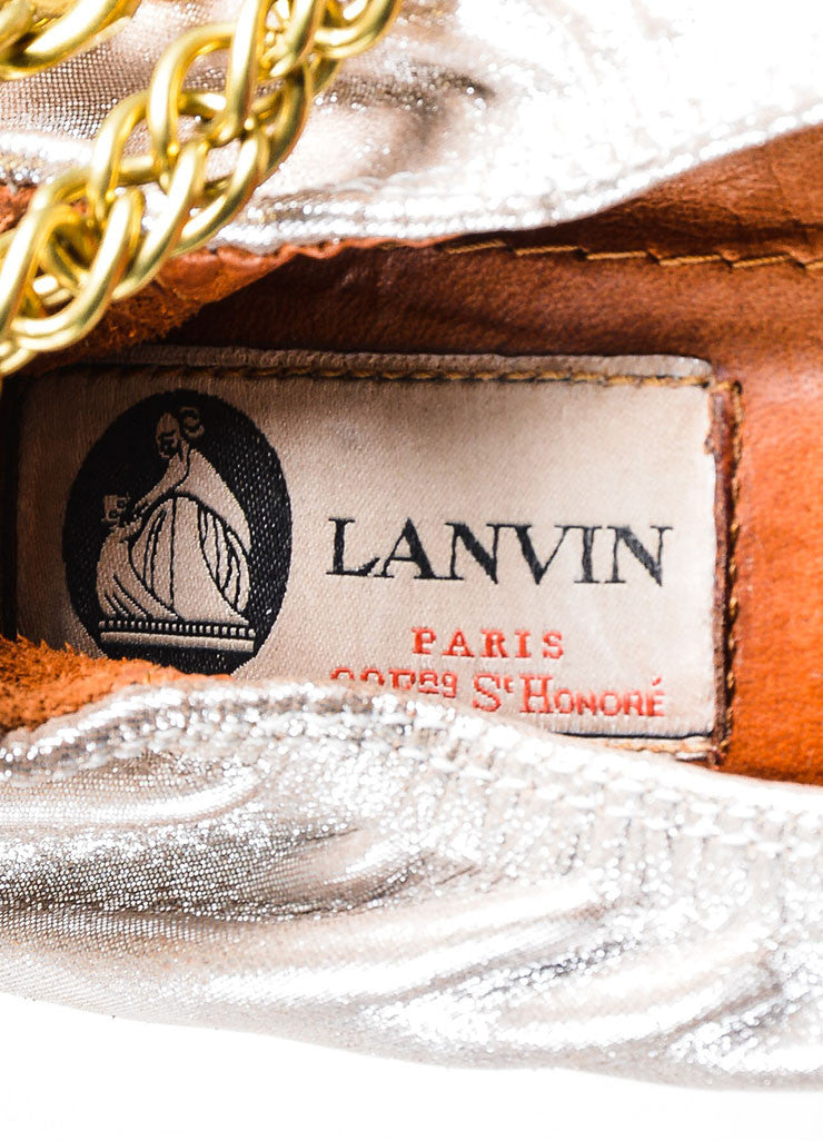 Metallic Platinum Lanvin Leather Gold Chain Ballet Flat Brand