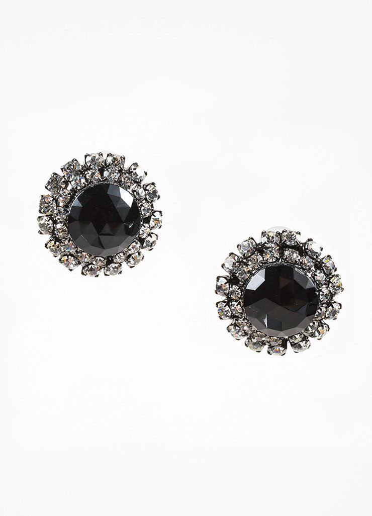 Lawrence Vrba Black Rhinestone Circular Clip On Earrings Frontview