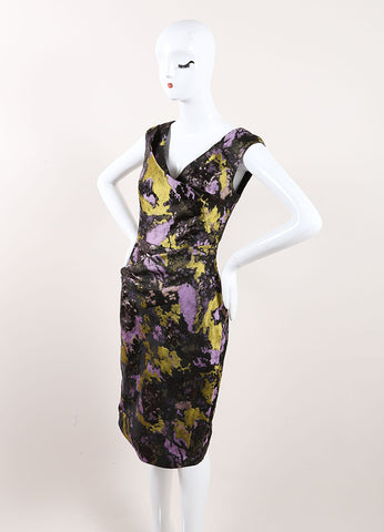 Lela Rose New With Tags Black, Green, and Purple Metallic Brocade Printed Dress Sideview