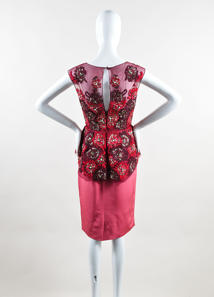 Lela Rose Red and Pink Silk Sequin Crystal Floral Peplum Sheath Dress Backview